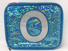 Justice For Girls Turquoise Sequin Sparkle Lunch Box Initial O
