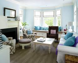 Living Room Blue Walls Sky Bay Window Seat Eclectic Upholstered Dash Of Fuchsia Amazing Ideas