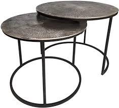 casamia couchtisch set 2 teilig beistelltische metall ø 55 u 45 cm tische wohnzimmer rund charles aluminium versilbert