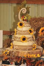 Rustic Country Sunflower Wedding Cake