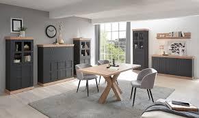 highboard sideboard kommode moderner landhausstil anthrazit matt kranz asteiche