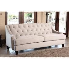 living claridge beige velvet fabric tufted sofa
