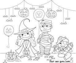 Kids Halloween Costume Party Ideas Coloring Page Print