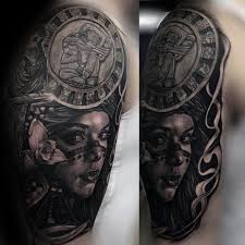 Mens Cool Mayan Calender With Female Portrait Realistic Half Sleeve Tattoo Ideas