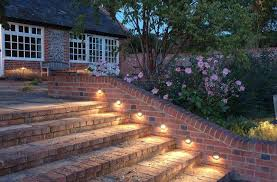 outdoors remarkable patio lighting ideas on stairway brick wall