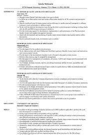 Download Senior Quality Assurance Specialist Resume Sample As Image File