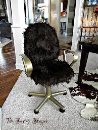 Black Fluffy Desk Chair VanitySalon Girly Cave Muebles