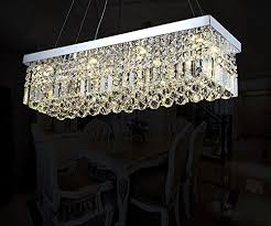 7PM W40 X D10 Modern Rain Drop Rectangle Clear K9 Crystal Chandelier Pendant Lamp Lighting Fixture 8 Lights For Dining Living Bedroom Room Chrome Frame