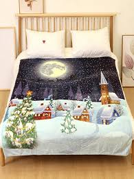 Online Christmas Tree Night Flannel Soft Bed Blanket