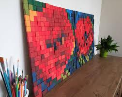 SET Wooden Art Sculptures POPPIESReclaimed WoodModern Wall