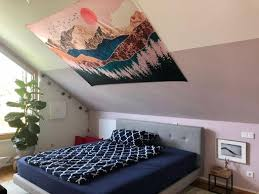schlafzimmer dachschräge wandteppich farbe schlafzimmer