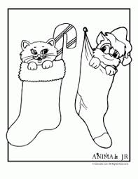 Kittens In Stockings Christmas Coloring Page