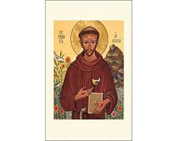 icon style francis of assisi holy cards package of 5