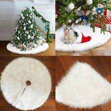 Luxury Faux Fur Christmas Tree Skirt 48 Inch Year White Decoration For Home