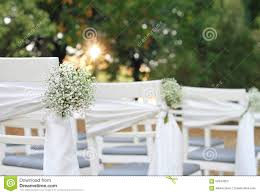White Flowers Rustic Chic Outdoor Chair Autumn Wedding Decoration