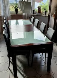 designer glastisch mit 8 stühlen sitzgruppe dunkelbraun esszimmer