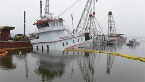 Tug Boat Sinks by Towboat Hits Rock Sinks Spills Fuel In River Professional