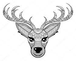 Zentangle Vector Reindeer For Adult Anti Stress Coloring Pages Stock 90268104