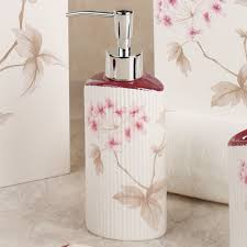 Cherry Blossom Curtain Panels by Christina Red Cherry Blossom Bath Accessories By Croscill