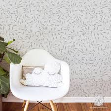 Contemporary Room Makeover And Painting Walls With Wisteria Leaves Wall Stencils