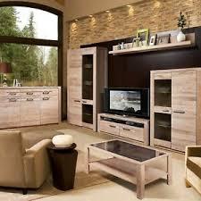 details zu modernes wohnzimmer komplett set mit wohnwand un couchtisch massivholz