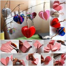 Easy Paper Hearts Tree To Decorate Your Home