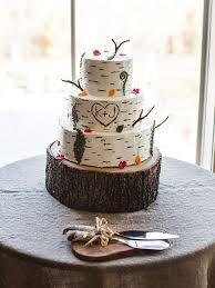 Rustic Wedding Cake With Tree Bark Design