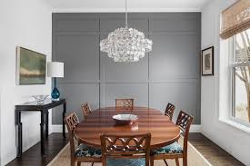 Grey Accent Wall Dining Room Transitional With 6 Seat