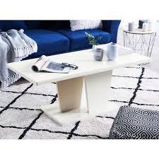 couchtisch weiß mit beige 110 x 55 cm mdf platte kaffeetisch untypische beine klassische tischplatte lackiert rechteckig modern