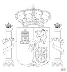 Spain Flag Coloring Page Coat Of Arms Free Printable Pages Picture