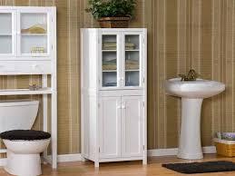 bathroom interior black wooden cabinet with glass door and shelf