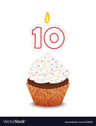 Birthday cupcake with candle number ten shape vector image