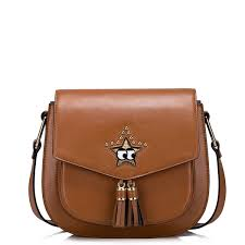 star pu leather 2016 new lovely cute star saddle bag brown