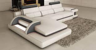 deco in canape d angle cuir blanc et gris design avec