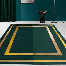 moderne luxus geometrische goldene rand teppich grün