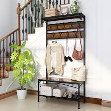 Details About Hall Tree Coat Rack Stand Shoe Bench Clothes Hanger Holder Entryway Hook 3in1