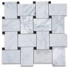 11 x11 carrara white large basketweave mosaic tile with black