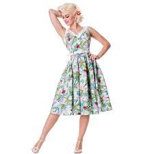 hell bunny larissa floral flamingo rockabilly vintage style 50s