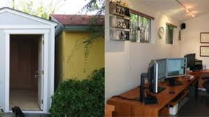 am駭agement bureau open space backyard shed turned home office