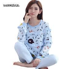 DANNSKARL Autumn Winter Season Pajamas Womens Long Sleeved Cotton