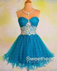 sweetheart blue sweetheart tulle short prom dress