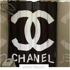 black chanel shower curtain dolls decoracion
