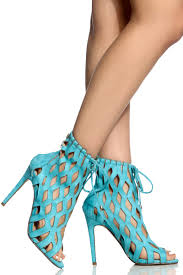 teal faux suede cut out open toe heels cicihot heel shoes online