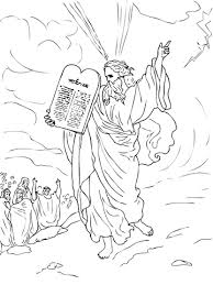 Click To See Printable Version Of Moses Comes Down From Mount Sinai With Ten Commandments Coloring