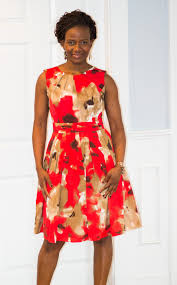 pleated fit and flare bold red print dress onstyleaction