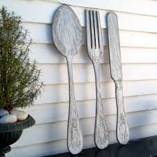 large wooden fork and spoon wall hanging utensil set wall decor fork knife spoon wall large