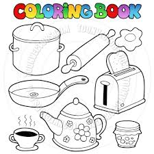 Kitchen Items Colouring Pages