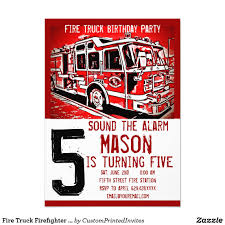 Fire Truck Firefighter Kids Birthday Invitations | { Happy Birthday ...