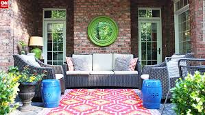 Impressive Painting An Outdoor Rug Patio Rugs Diy Rugs Concrete