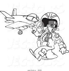 Vector Of A Cartoon Fighter Pilot Near His Jet